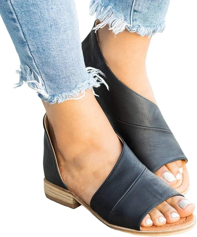 SaraIris Women's Asymmetrical D'Orsay Sandal Open Toe Flats Cut Out Low Heel shoes Black