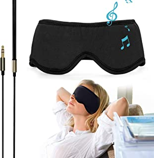 "Sleep Headphones Comfortable Washable Eye Mask w' Built-in Light & Thin Earphone for Sleep Sideways, Perfect for Air Travel, Relaxation, Meditation, Insomnia-Black S(20.87""~21.65"")"