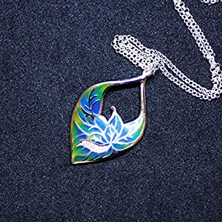 Leaves Flower Enameled Silver Pendant with Cubic Zirconias