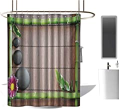 TimBeve Shower Curtain Liner Meditation,Spa Frame with Spiritual Stones Bamboo Stems Orchid Petals Yoga Zen Philosophy,Multicolor,European Style Decoration Bathroom Curtains 47