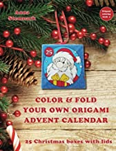 Color & fold your own origami advent calendar - 25 Christmas boxes with lids: US edition (Origami coloring book) (Volume 4)