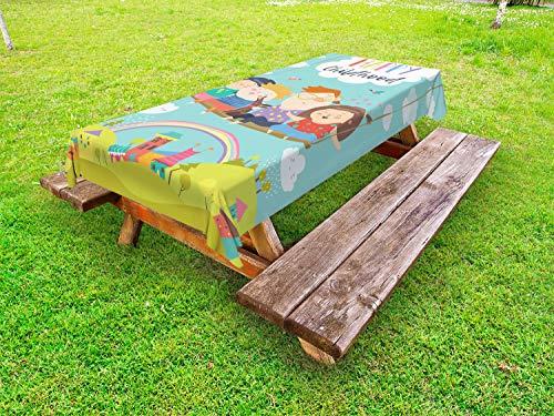 ABAKUHAUS Kinderkamer Tafelkleed voor Buitengebruik, Happy Kids op een Schommeling, Decoratief Wasbaar Tafelkleed voor Picknicktafel, 58 x 120 cm, Veelkleurig