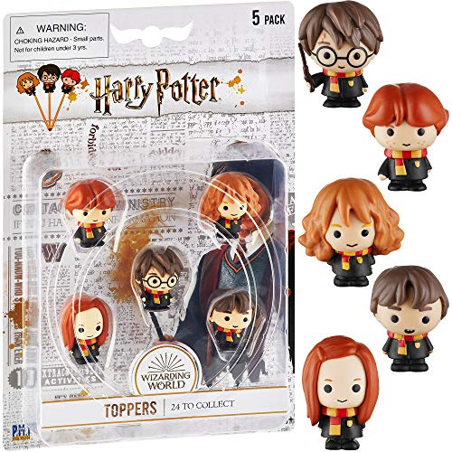 Harry Potter Pencil Toppers, Gifts, Toys, Collectibles – Set of 5 Harry Potter Figures for Writing, Party Decor – Harry Potter, Ron Weasley, Neville Longbottom, & More by PMI, 2.4 in., Soft PVC