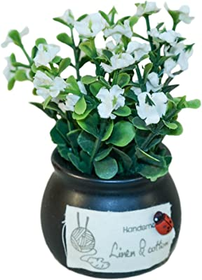 Meiyiu Mini Creative Bonsai Tree Artificial Plant Decoration Not Faded No Watering Potted for Office Home