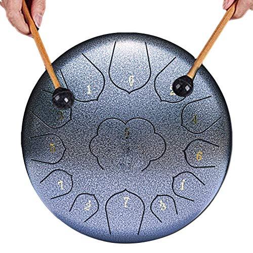 Tambor de la lengua de acero, 13 nota 12 pulgadas de tambor de tanque de chakra, instrumento de percusión Tambor de la mano de loto, tambor de teclas C con bolsa, para educación musical Concierto Ment