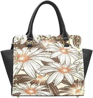 Vintage Retro Flowers Women Rivet Leather Shoulder Handbags Top Handle Bags with Crossbody Strap