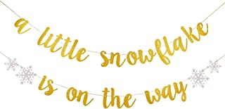 Gold Glittery A Little Snowflake Is On The Way Banner- Winter Baby Shower Party Decorations,Kids Birthday Party Decor,Christmas Party Decor