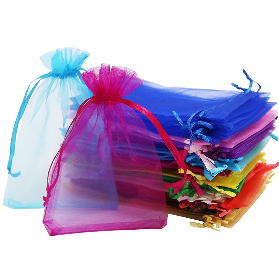 SumDirect 110Pcs 4x6 inches Mixed Color Sheer Drawstring Organza Jewelry Pouches Wedding Party Christmas Favor Gift Bags (4x6 inches, Mixed Color)