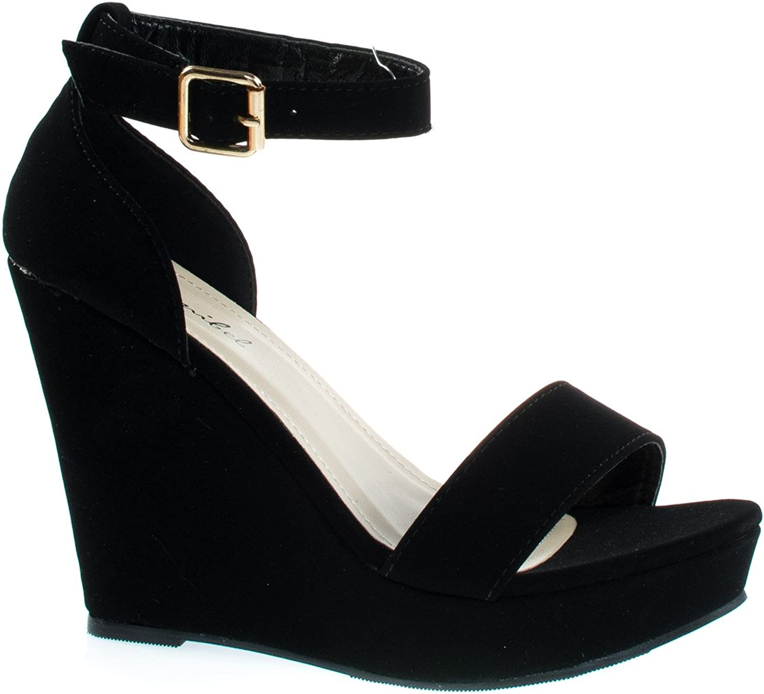 Bonnibel Paige-1 Classic Open Toe Platform Wedge Dress Sandal W Ankle Strap & Heel Counter