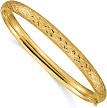 14k Yellow Gold 6.35mm Hinged Bangle Bracelet Cuff Expandable Stackable 7 Inch Fine Jewelry Gifts For Women For Her