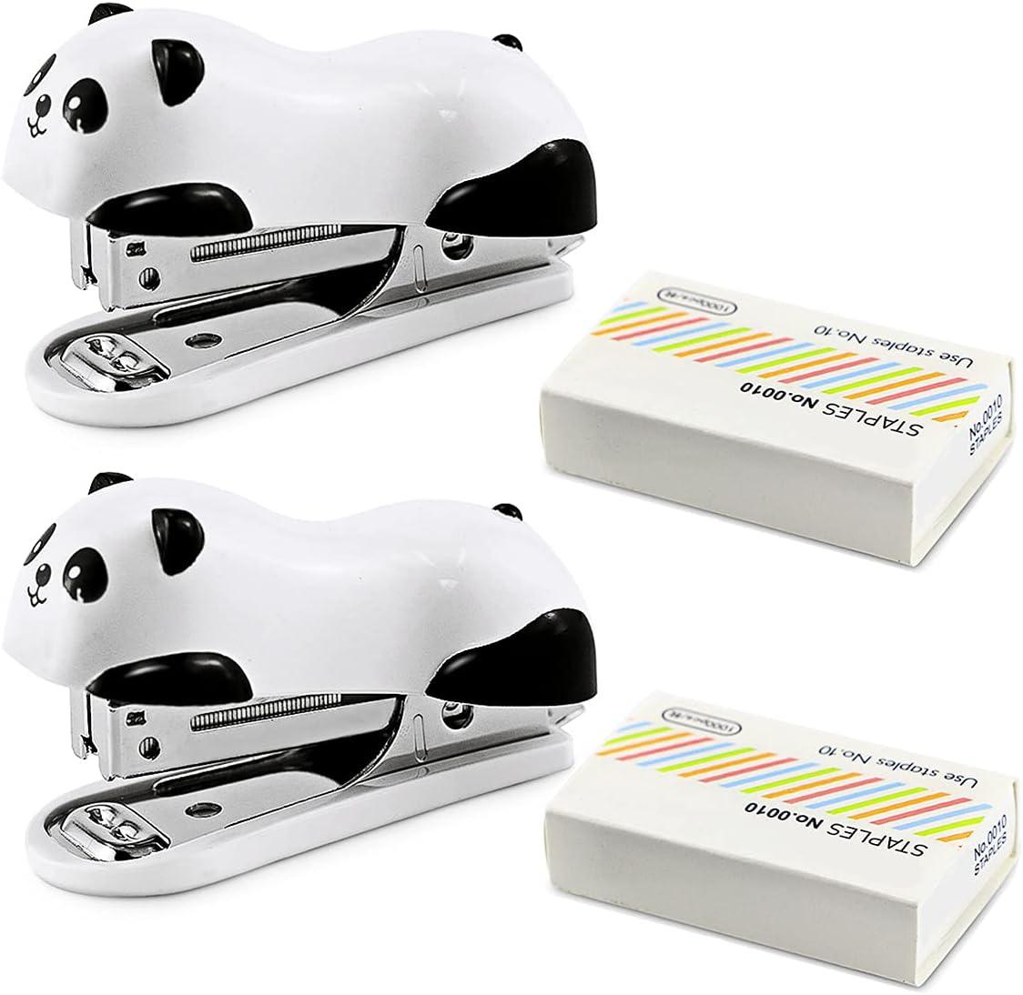 Owevvin 2 Packs Cute Panda Stapler Portabl Rapid rise Max 41% OFF 1000 Staples Pcs and