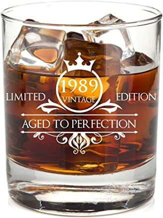 1989 30th Birthday Whiskey Glass for Men and Women - Vintage Funny Anniversary Gift Idea for Him,  Her,  Husband,  Wife – 30 Year Old Gifts for Mom,  Dad - Party Favors,  Decorations - 11 oz