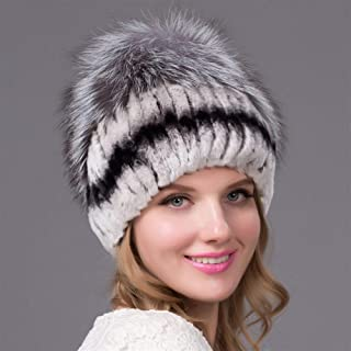 Guomao Rabbit Fur Hat Female Winter Knit Hat Leisure Wild Fur Hat Rex The Whole Wide Strip Side Hand-Stitched Flowers Header Cap (Color : Gray)
