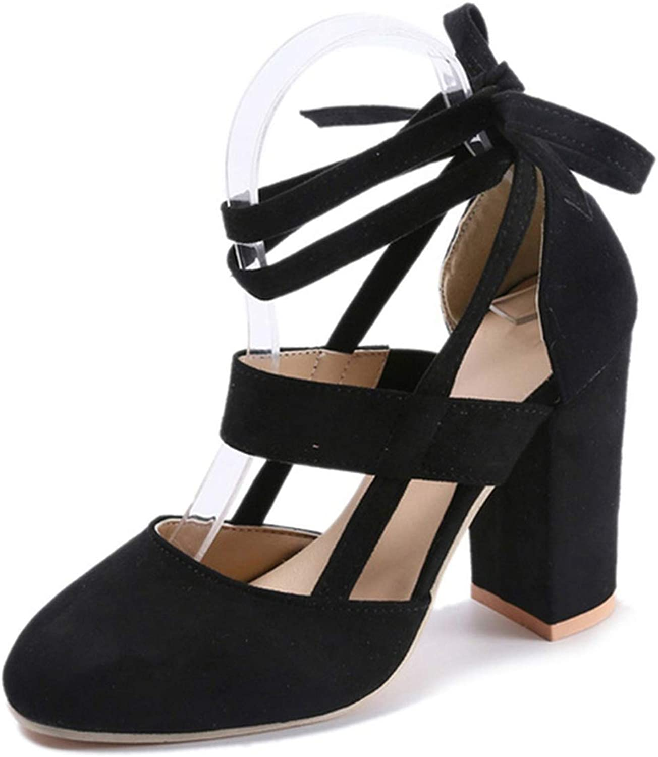 Sexy Women Open Toe Pumps Lace up Heels Sandals Woman Ankle Strap Square Cover Heel shoes