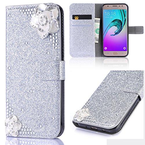 Xifanzi Kunstleder-Schutzhülle für Samsung Galaxy S5 / S5 Neo, süßes Schmetterlingsdesign mit Glitzer, Standfunktion, Kartenfach und Magnetverschluss, Camellia Chain Silver, Samsung Galaxy S5/S5 Neo