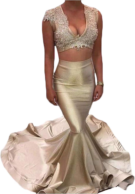 CIRCLEWLD Two Piece Formal Evening Dresses Womem Appliqued Crop Top Mermaid Skirt E88