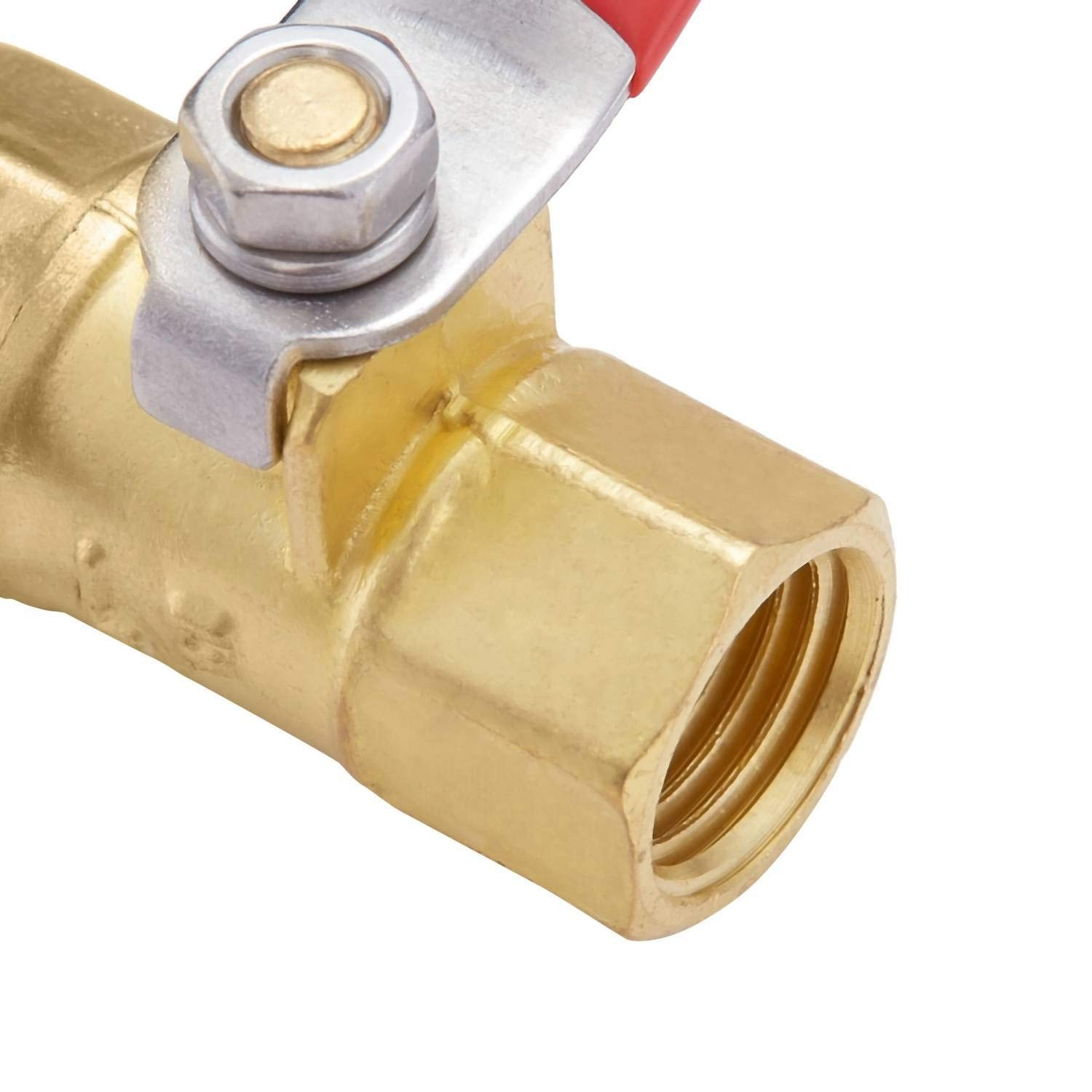 180 Degree Operation Handle Rated to 600 WOG for Tank Drain Minimprover Lead Free Brass 2 PCS Inline Mini Ball Valve Shut Off Switch 1//4 NPT Female x 1//4 INCH NPT Female Pipe Fittings
