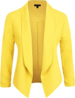 4cdee2b7ad8 Michel Womens Casual Blazer Work Office Lightweight Stretchy Open Front Lapel  Jacket with Plus Size