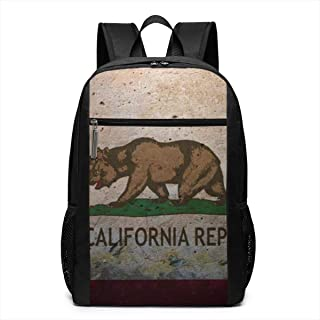 QDL California Flag Double Headed Bear Classical 17 Inch Laptop Backpack for Adult Waterproof Anti-Theft Laptop Bag Multipurpose Travel Computer Back Pack for College Business