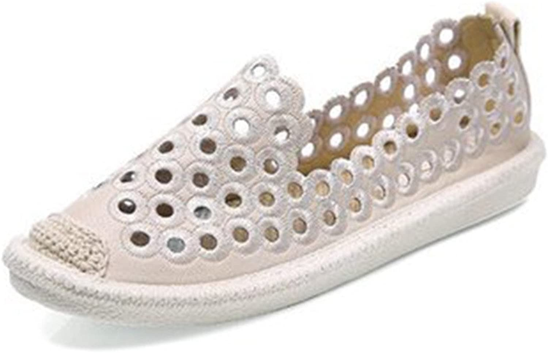 York Zhu Women's Loafers, Hollow Out Slip On Hemp Flats, Women Fisherman shoes