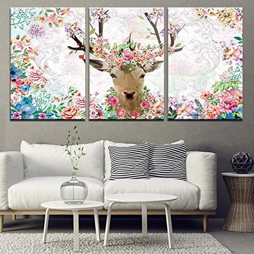 XKLDP Watercolor Ciervo con Flor Lienzo Arte de la Pared Pintura impresión Cartel Animales imágenes decoración del hogar-50x70cmx3 Piezas sin Marco