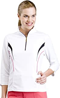 Monterey Club Ladies Dry Swing Mini Matrix Texture 3/4 Long Sleeve Color Insert Shirt #2264
