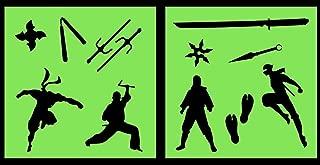 Auto Vynamics - STENCIL-NINJASET01-10 - Detailed Ninjas & Ninja Weapons Stencil Set - Includes Sai, Katana, Nunchaku, & Multiple Ninjas! - 10-by-10-inch Sheet - (2) Piece Kit - Pair of Sheets