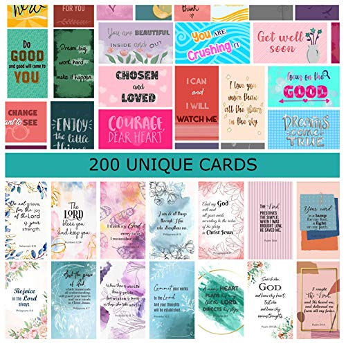 200 Unique cards - 100 motivational cards with inspirational quotes and 100 prayer cards with bible verses for women, encouragement and kindness cards show gratitude and appreciation.