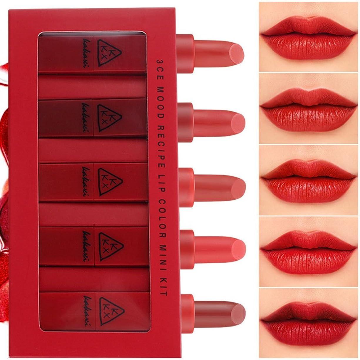 なに日マートRaiFu リップスティック セット 5色 口紅 長続き防水リップ 化粧品 マット リップスティック セット 5本/セットコスプレ、ハロウィーン、クリスマスなどに兼用 レッド