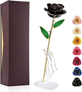 Ejoyous 24K Gold Plated Black Rose, Forever Preserved Real Rose Gift for Lover Mom Wife Daughter Girl Friend, Unique Present on Valentines Day, Anniversary, Birthday, Proposal (Black with Stand)