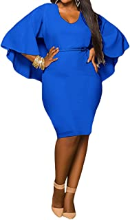 Women's Batwing Sleeve V Neck Solid Bodycon Plus Size Dress