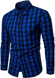 HX fashion Camisas A Cuadros Feixiang Blusa Para Hombres De Manga Tamaños Cómodos Larga Para Hombres Oficina De Negocios D...