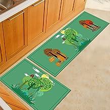 2 Pieces Kitchen Mat Non-Slip Soft Bath Rug Doormat,Runner Carpet Bath Mat Washable Soft mat (Color : Twopiecesb, Size : 6...