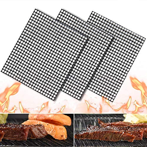"Nonstick Barbecue Grill Mesh Mat Set of 3, BBQ Grilling & Baking Sheet Liner, Reusable Grill Accessories for Grilled Vegetables/Fish/Fajitas/Shrimp, Uses on Smoker,Pellet,Gas, Charcoal Grill,17"" x 13"""
