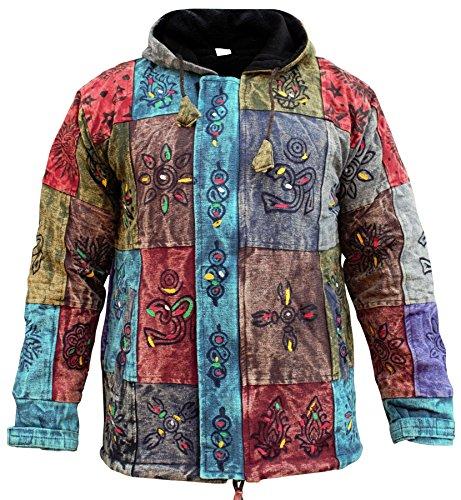 Shopoholic Fashion Men's Patchwork Hippie Fleece Lined Winter Jacket Bohemian Festival Hippy Hoodie(2XL)