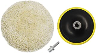 Wool Polishing Pad Buffing Pads Kit 6inch 100% Natural Wool Hook & Loop Grip Buffing Pad with M14 Drill Adapter Kit for Compound Cutting & Polishing