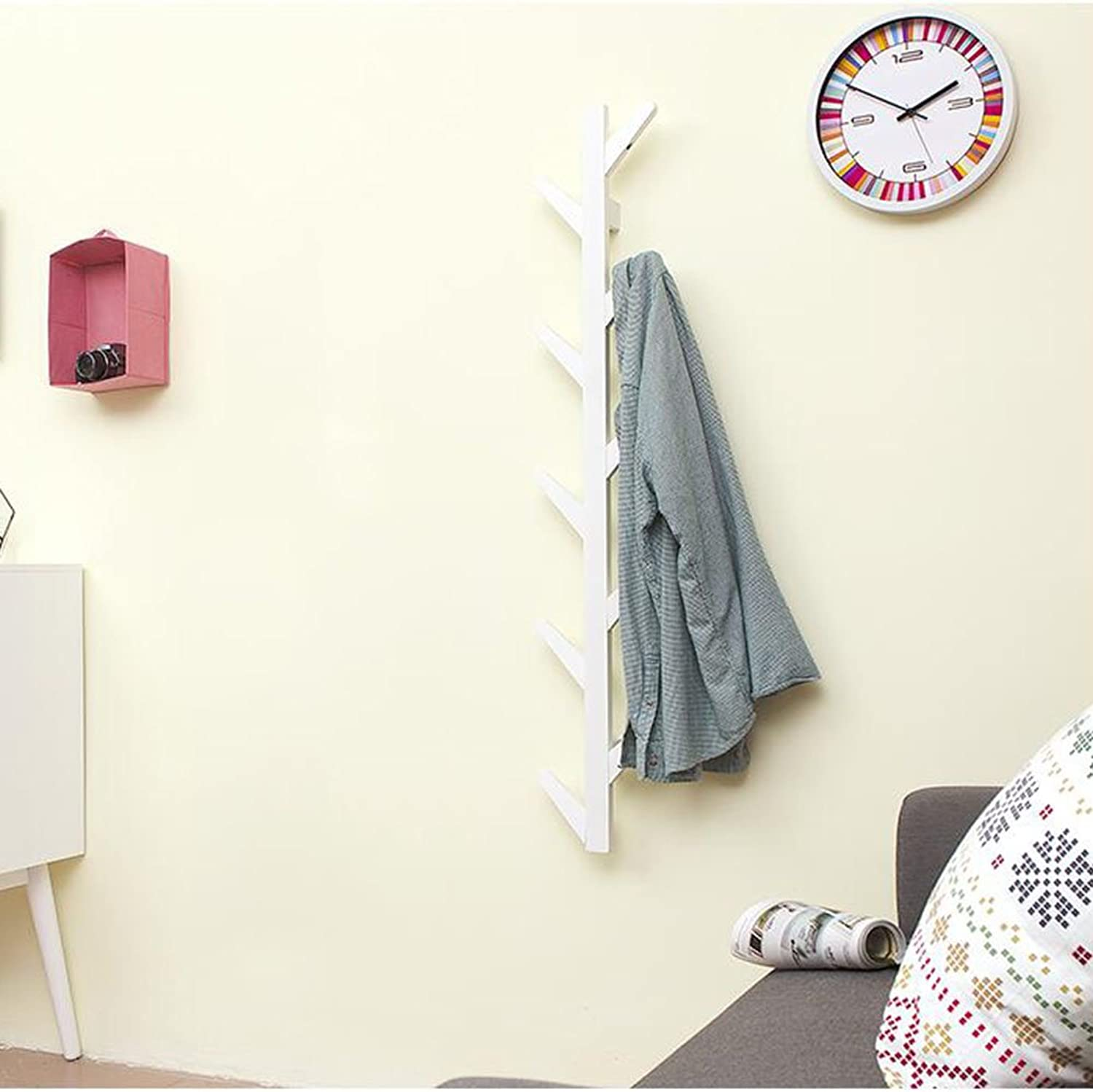 CJC Coat Rack Bamboo Retro Hang Clothes Wall Hanging 10 Hooks 3 colors Furniture Home Kitchen Hallway Multifunction (color   White)