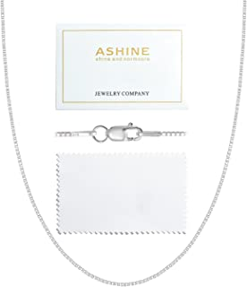 ASHINE 925 Sterling Silver 1mm & 0.8 Italian Box Chain Necklace 16