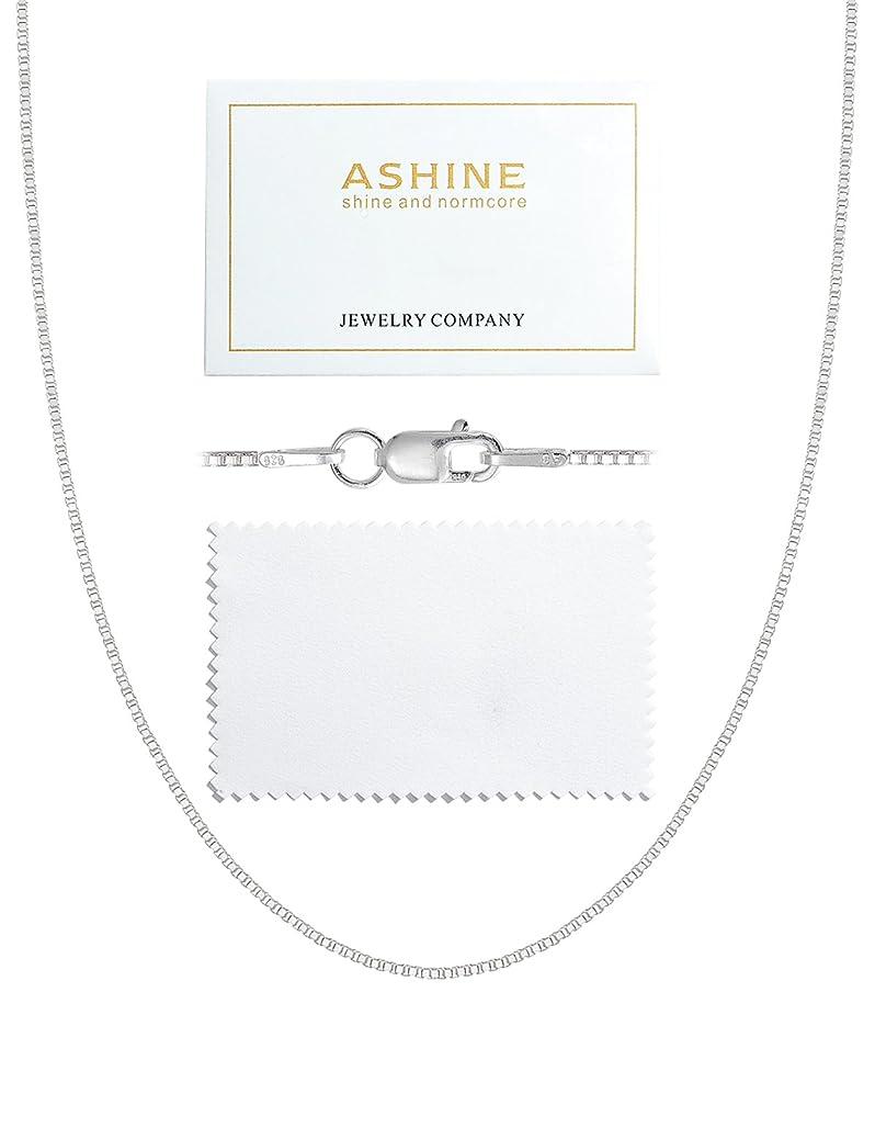 ASHINE 925 Sterling Silver 1mm & 0.8 Italian Box Chain Necklace 16