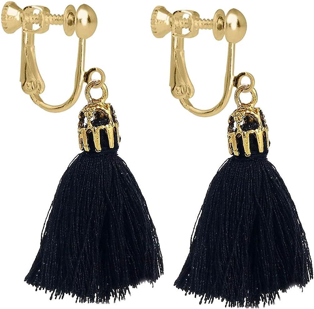 Women Girl Vintage Hollow Crystal Tassel Dangle Clip on Earrings Jewelry Thread Bohemia Statement