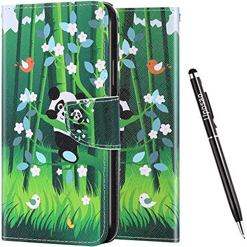 Uposao Kompatibel mit Samsung Galaxy M31 Hülle Leder Vinatge Bunt Muster Brieftasche Handyhülle Schutzhülle Flip Wallet Case Leder Tasche Hülle Klapphülle Magnet,Panda