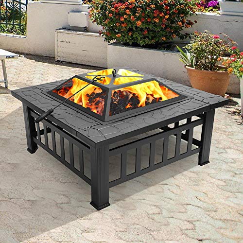 YALKIN 32'' Outdoor Fire Pit Metal Square Firepit Patio Stove with Mesh Screen Lid and Poker, Wood Burning BBQ Grill Fire Pit Bowl for Backyard Garden Camping Picnic Bonfire