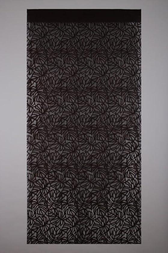 光沢のある組立お金narumikk 間仕切りタペカーテン モンステラ ブラウン 198cm丈 14-327