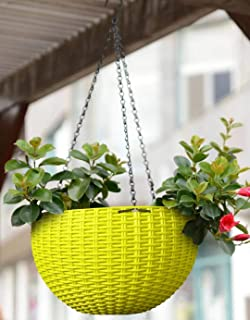 Trendy home Hanging Balcony Planters | UV Treated Plastic Pots Sanitized with Hanging Chains (Pack of 5) Green Color | Siz...