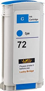 LKB 1PK Compatible HP72 Ink Cartridge Cyan Replacement 130ML Use with designjet T1100 T1200 T1100ps T1120 SD-MFP T1120ps T...