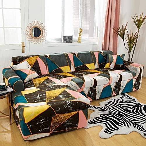 Fundas elásticas para sofá para Sala de Estar, Funda geométrica para sofá, Funda para sofá, Esquina para Mascotas, en Forma de L, Chaise Longue, Funda para sofá A17, 4 plazas