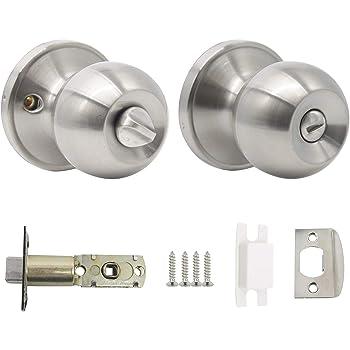 Probrico Interior Privacy Door Knob For Bedroom Stainless Steel Bathroom Door Handle Round Door Lock Set Without Key Satin Nickel Amazon Co Uk Diy Tools