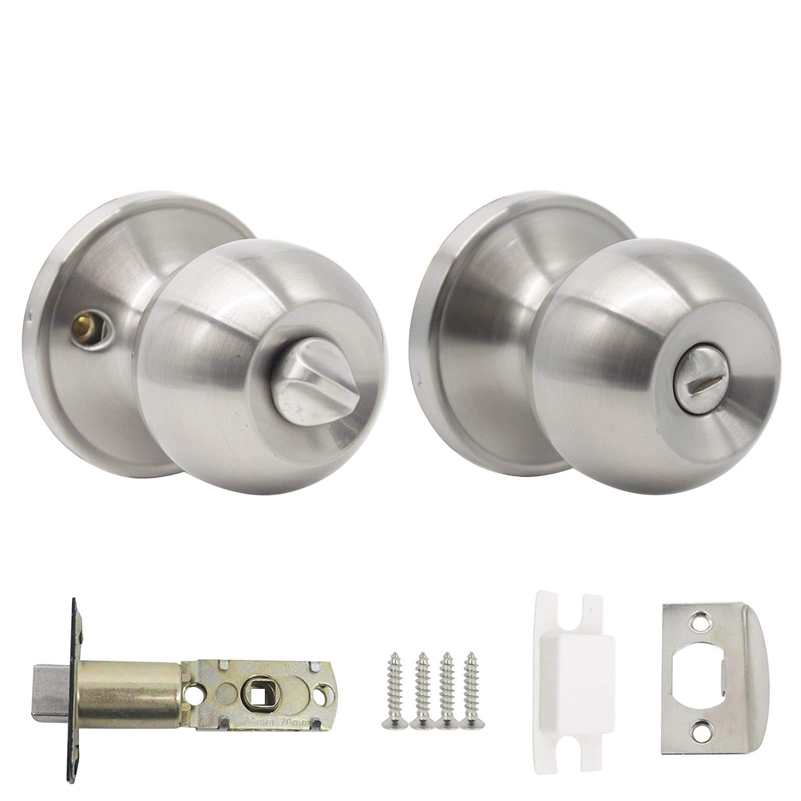 Probrico Interior Privacy Door Knob for Bedroom Stainless Steel Bathroom  Door Handle Round Door Lock Set Without Key Satin Nickel