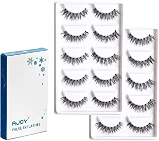 AJOY Demi Wispies False Eyelashes Single Style by Corner Winged, Professional Reusable Fuller Natural Look Whispy Lashes,10 Pairs (R-10P)