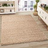 VIMODA Prime Shaggy Teppich in Beige Hochflor Langflor Teppiche Modern, Maße:70x140 cm